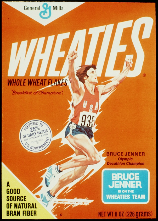 DATE TAKEN: rcvd 1996---The 1976 Wheaties box featuring Bruce Jenner after he won the decatholon at the Montreal Summer Olympics. ORG XMIT: UT24783